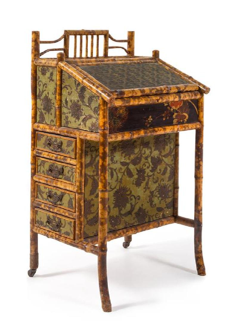 A Victorian Bamboo and Lacquer Davenport Desk Height 40