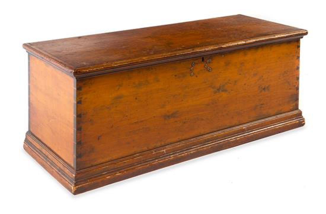 * An American Pine Dowry Chest Height 16 1/2 x width 43