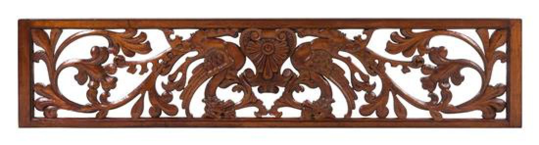 A Carved Maple and Walnut Transom Plate Height 16 x