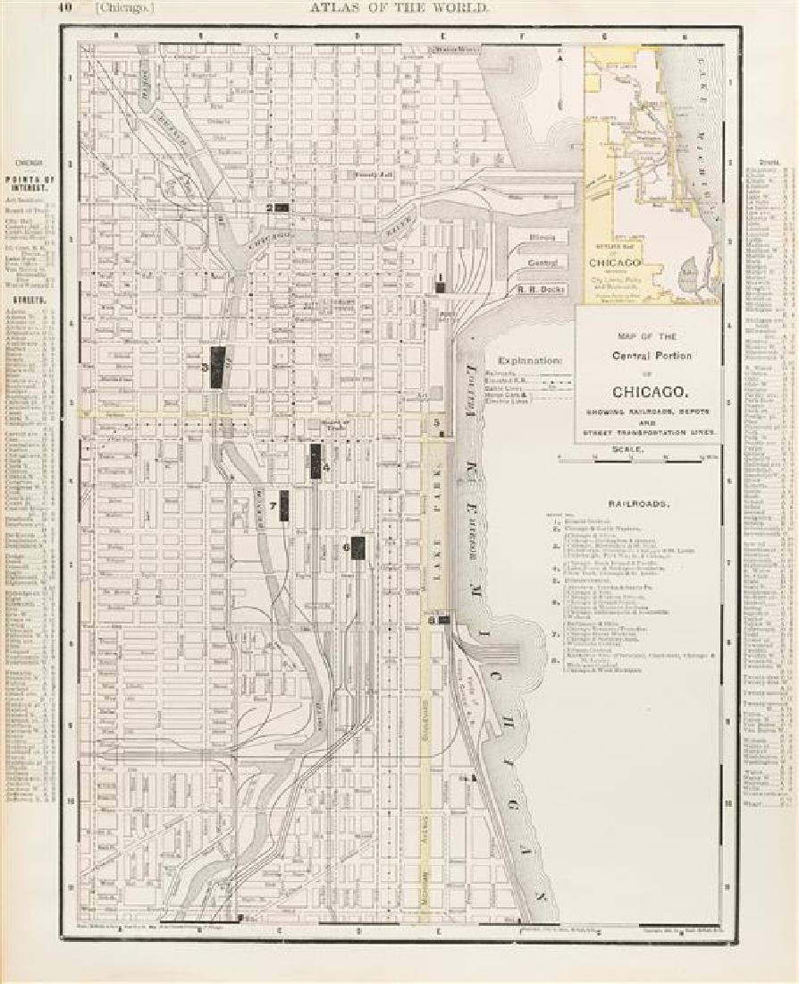 [MAPS OF CHICAGO AND ILLINOIS]. A group of 4 maps and - 2