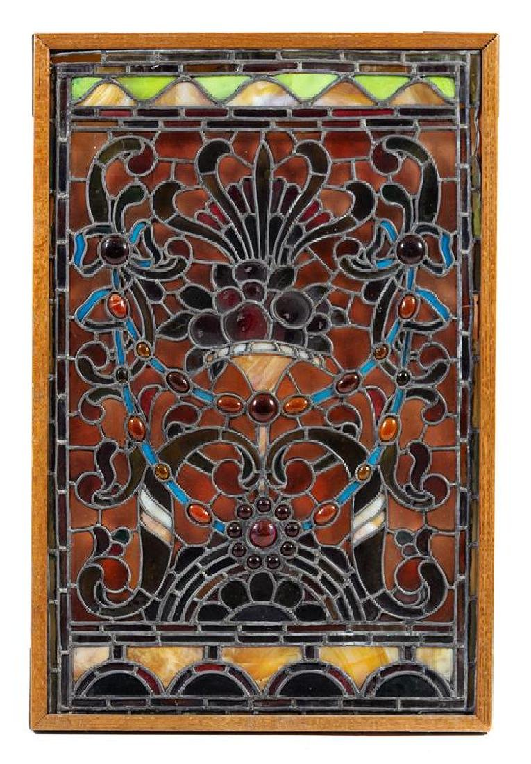 A Palmer V. Kellogg Mansion Leaded Glass Window,
