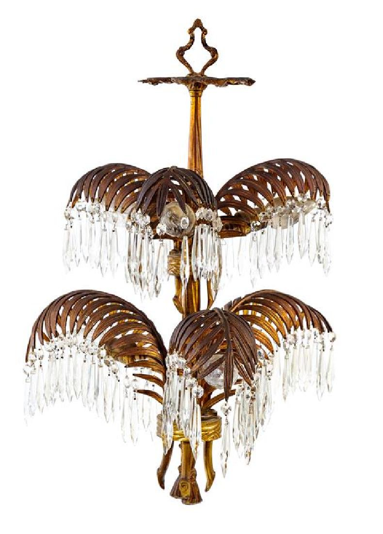 An Art Deco Brass and Glass Chandelier Height 28 x