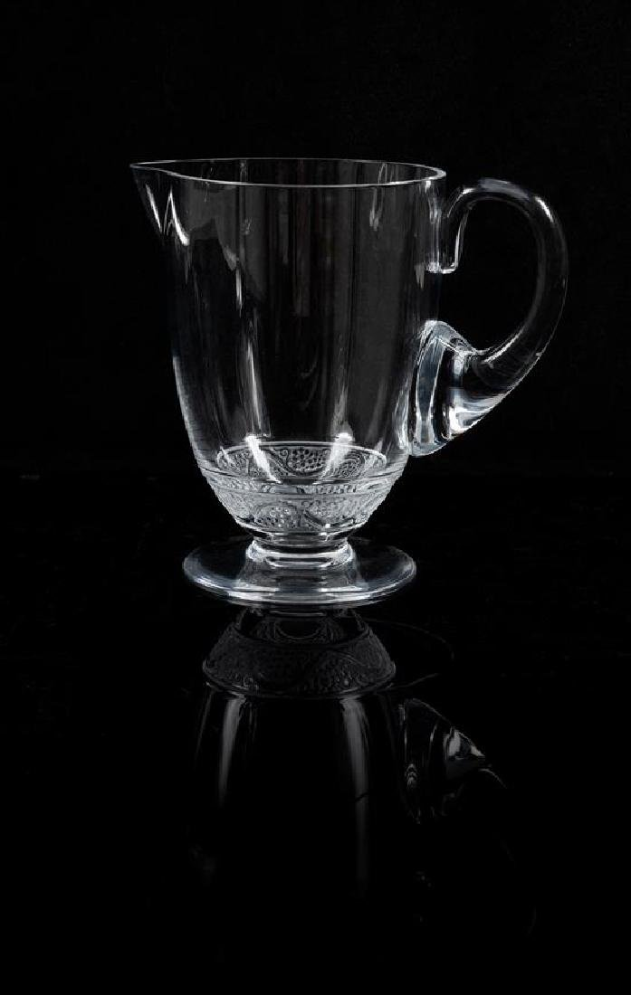 * A Lalique Molded and Frosted Glass Pitcher Height 7