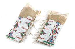 Pair of Plains Beaded Leggings Height 17 1/2 inches