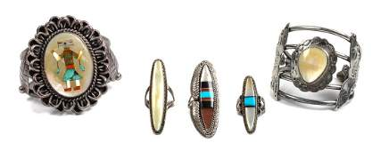 Two Southwestern Silver and Mother of Pearl Bracelets