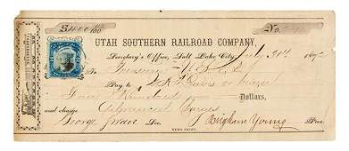 YOUNG, Brigham (1801-1877). Printed check signed