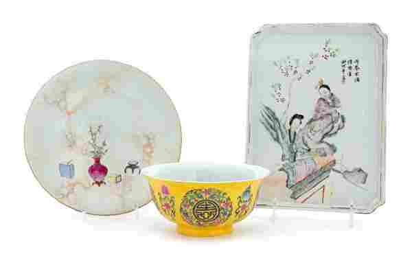 Three Chinese Famille Rose Porcelain Articles Length of