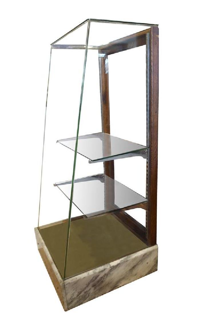 """An Oak and Marble Display Case 27"""" W x 26.5"""" D x 60"""" H"""