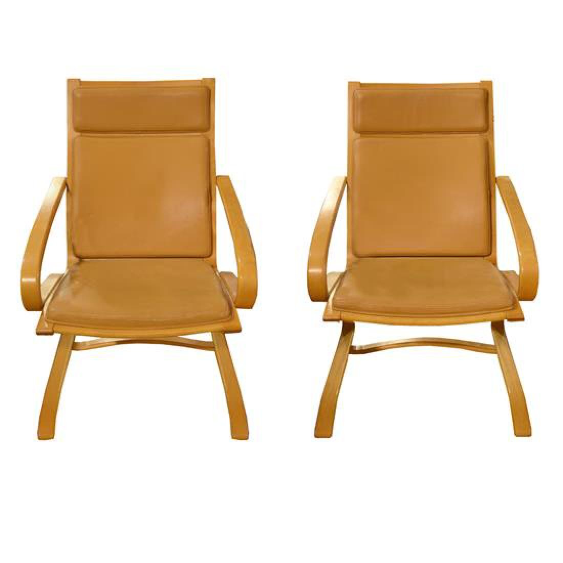 "A Pair of Bentwood Mid-Century Chairs 23.5"" W x 27"" D x"