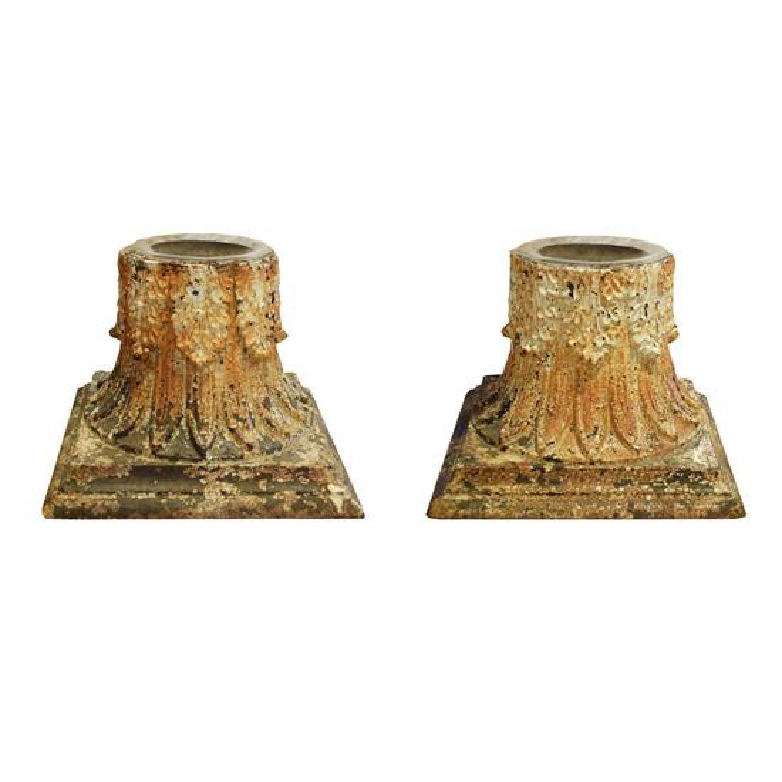 "A Pair of Cast Iron Capitals with Candles 13"" W x 13"" D"