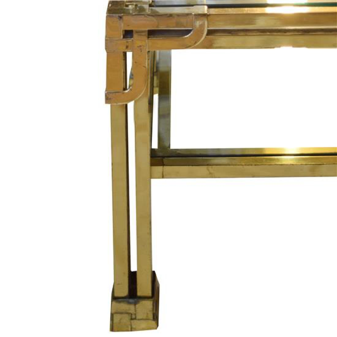 """A Brass and Glass Cocktail Table 27.75"""" W x 27.75"""" D x - 2"""