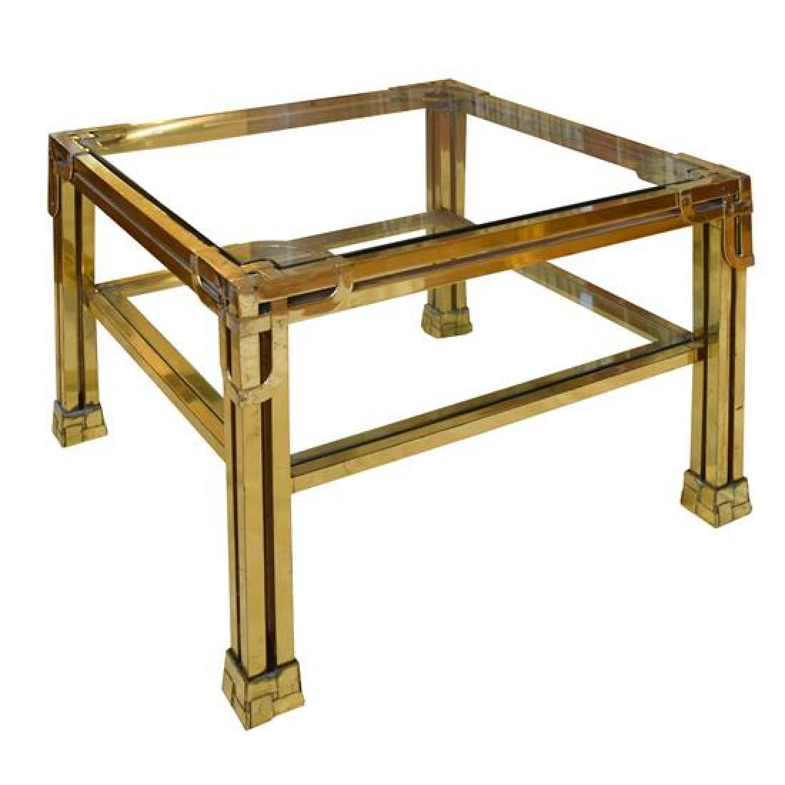 """A Brass and Glass Cocktail Table 27.75"""" W x 27.75"""" D x - 4"""