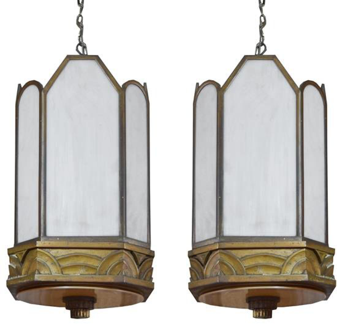 "A Pair of Art Deco Bronze Chandeliers 11"" W x 11"" D x"