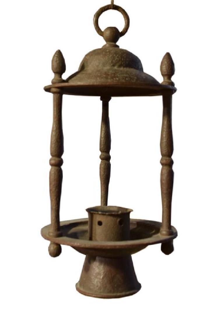 "A Wrought Iron Lantern by Jose Thenee 9.5"" W x 9.5"" D x - 3"