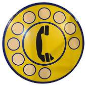 """An Enameled Iron Telephone Sign 19"""" W x .5"""" D x 19"""" H"""