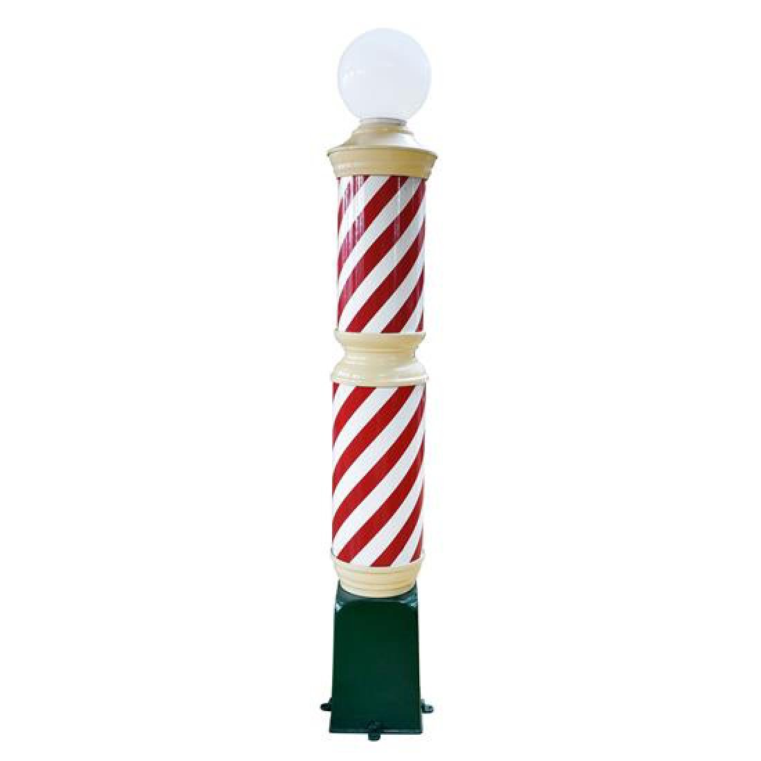 """A Metal and Glass Barber Pole 12"""" W x 12"""" D x 89"""" H"""