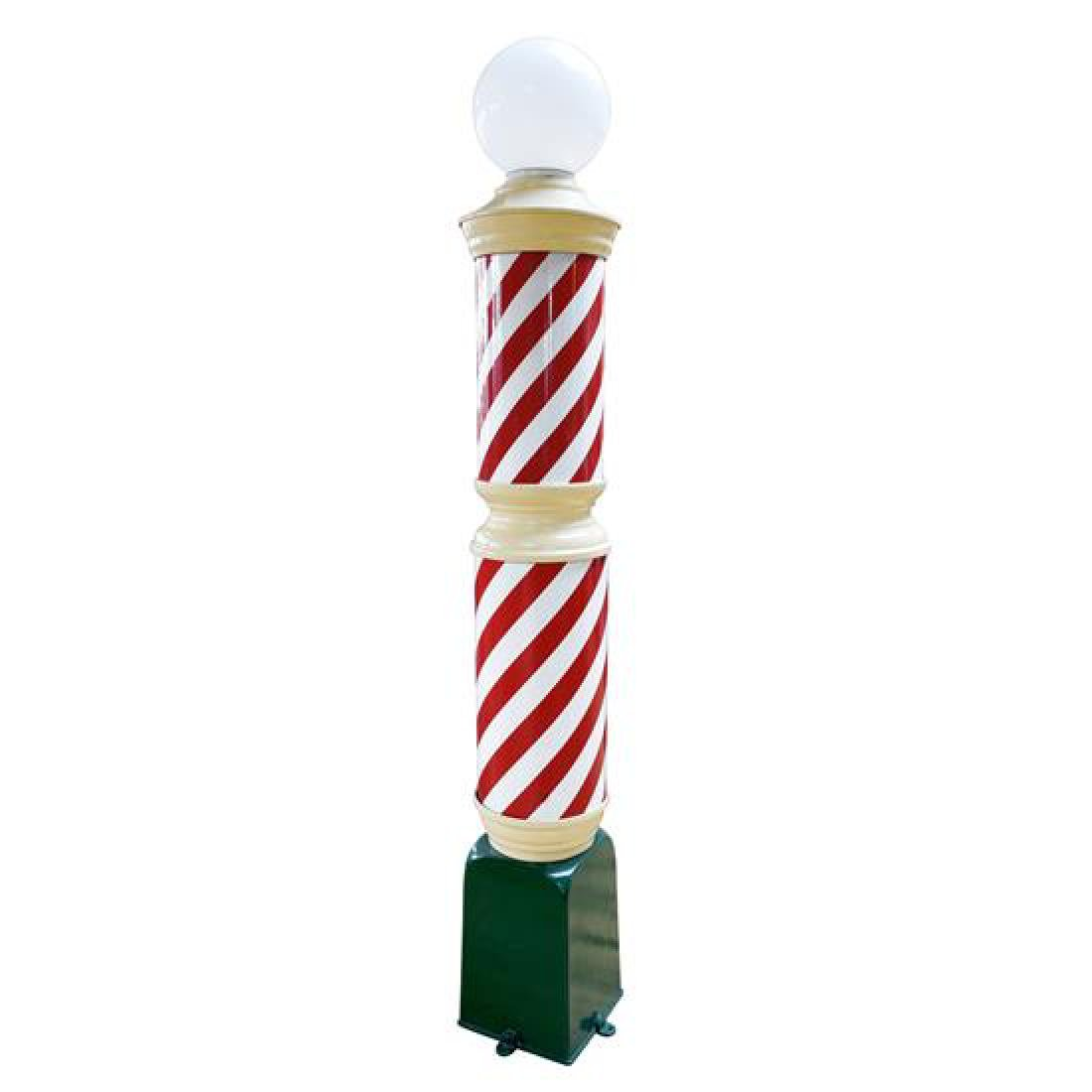 """A Metal and Glass Barber Pole 12"""" W x 12"""" D x 89"""" H - 3"""