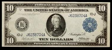 A United States Series 1914J 10 Federal Reserve Note