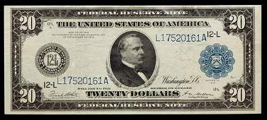 A United States Series 1914L 20 Federal Reserve Note