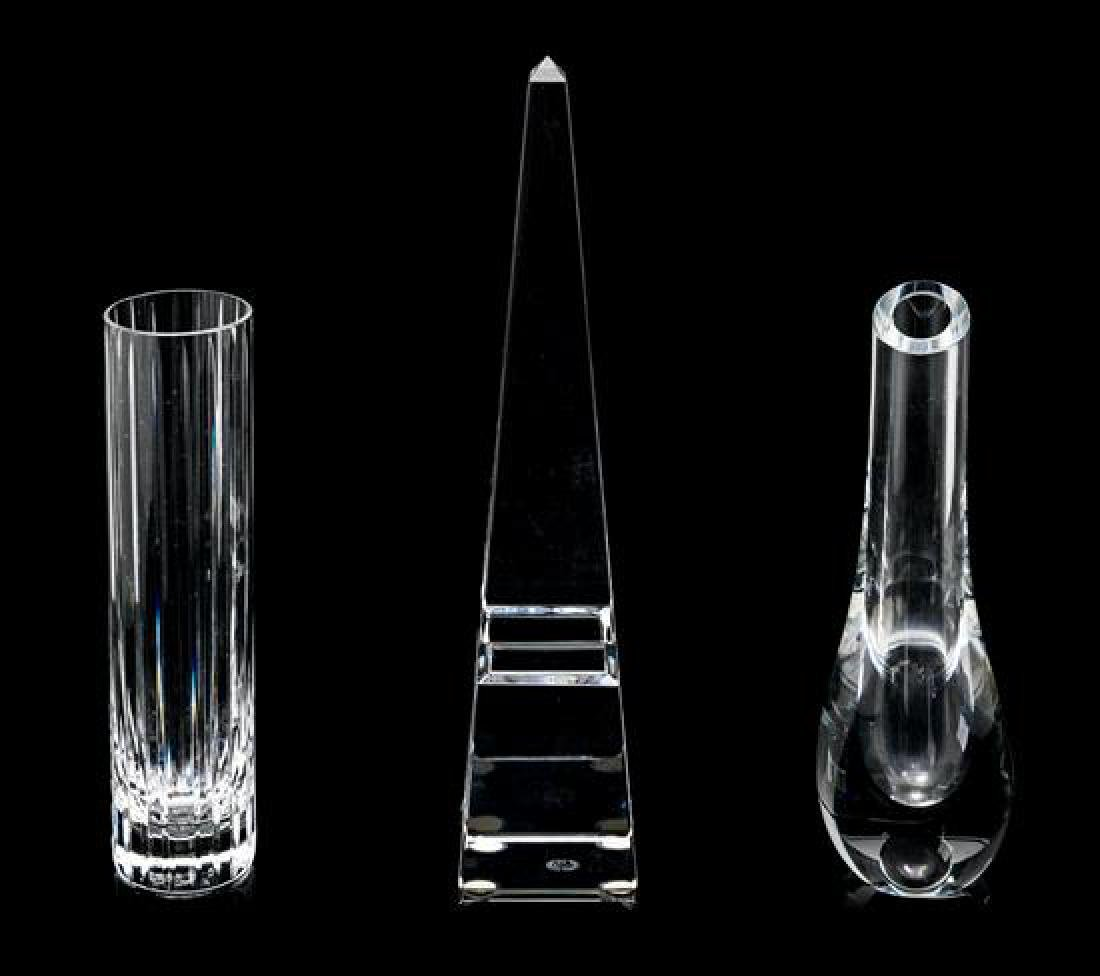 A Baccarat Obelisk and Two Baccarat Bud Vases Height of