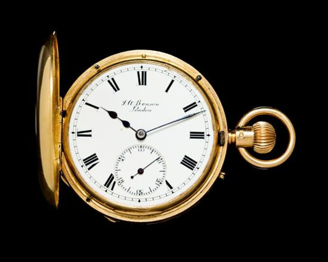 An 18 Karat Yellow Gold and Enamel Demi Hunter Pocket