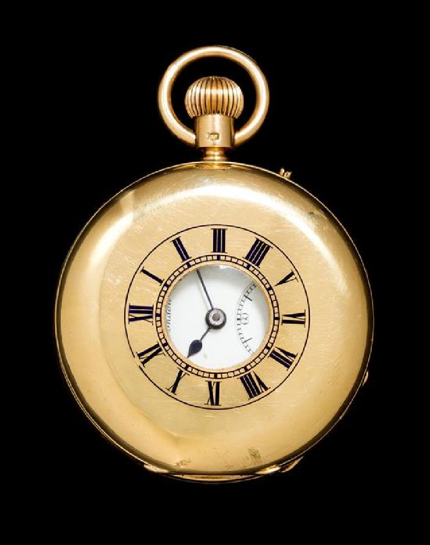 An 18 Karat Yellow Gold and Enamel Demi Hunter Pocket - 2