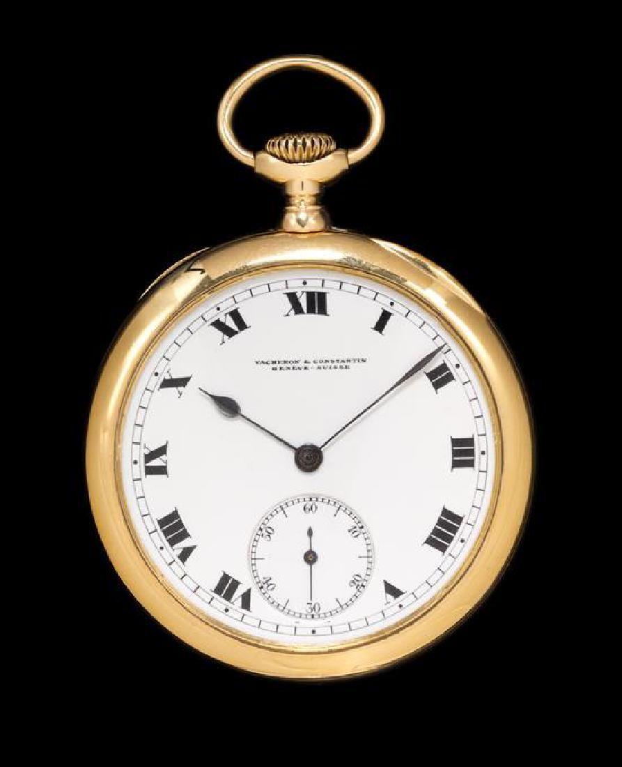 An 18 Karat Gold Open Face Pocket Watch, Vacheron &