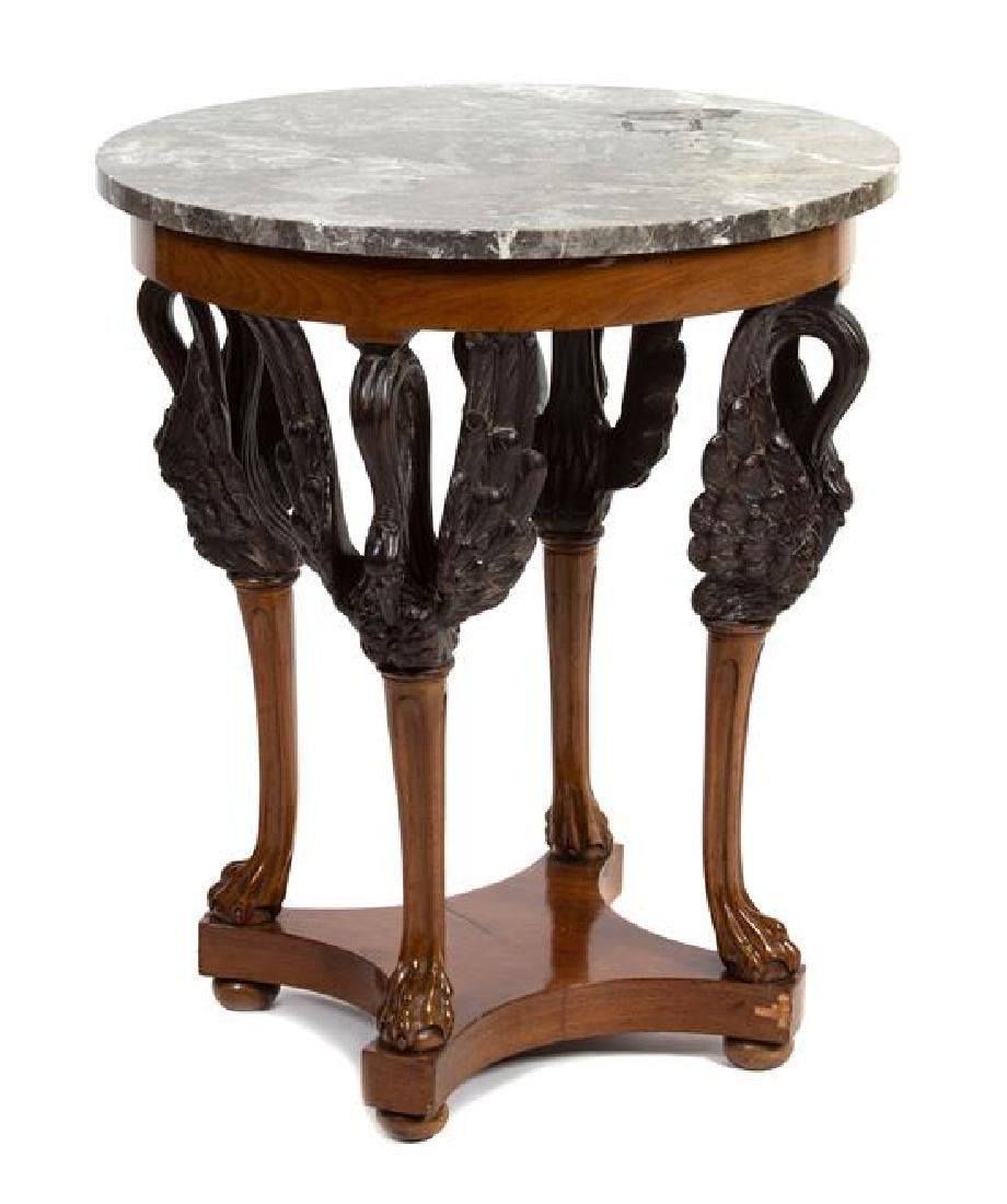 An Empire Style Parcel Ebonized Side Table Height 28 x