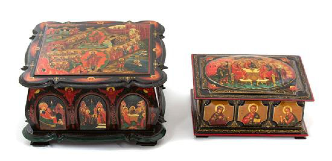 Two Russian Lacquered Covered Boxes Width of largest 7