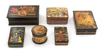 A Group of Five Russian Lacquered Boxes Width of