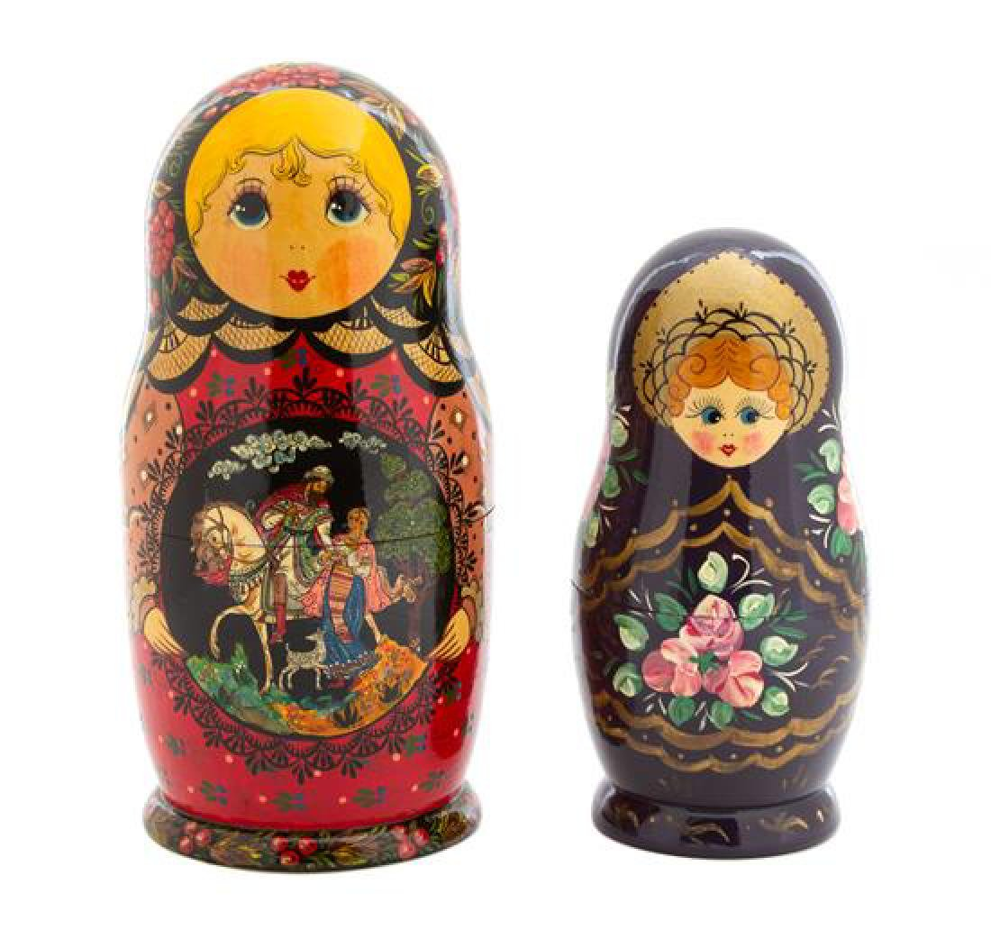 Two Russian Matryoshka Nesting Dolls Height of largest