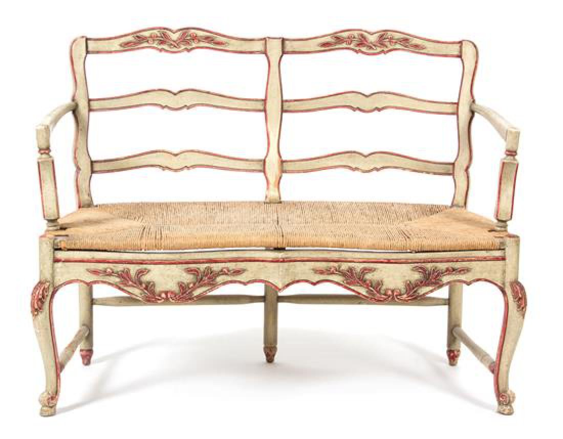 A Louis XV Style Carved and Painted Two-Chair Back