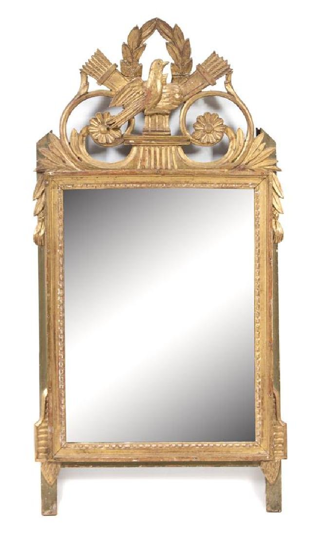A Louis XVI Style Carved Giltwood Mirror Height 41 x