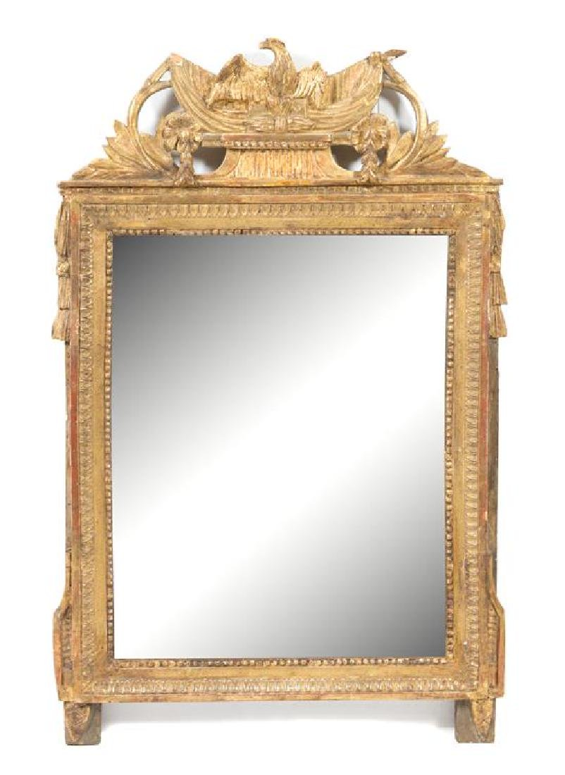 A Louis XVI Style Carved Giltwood Mirror Height 53 x