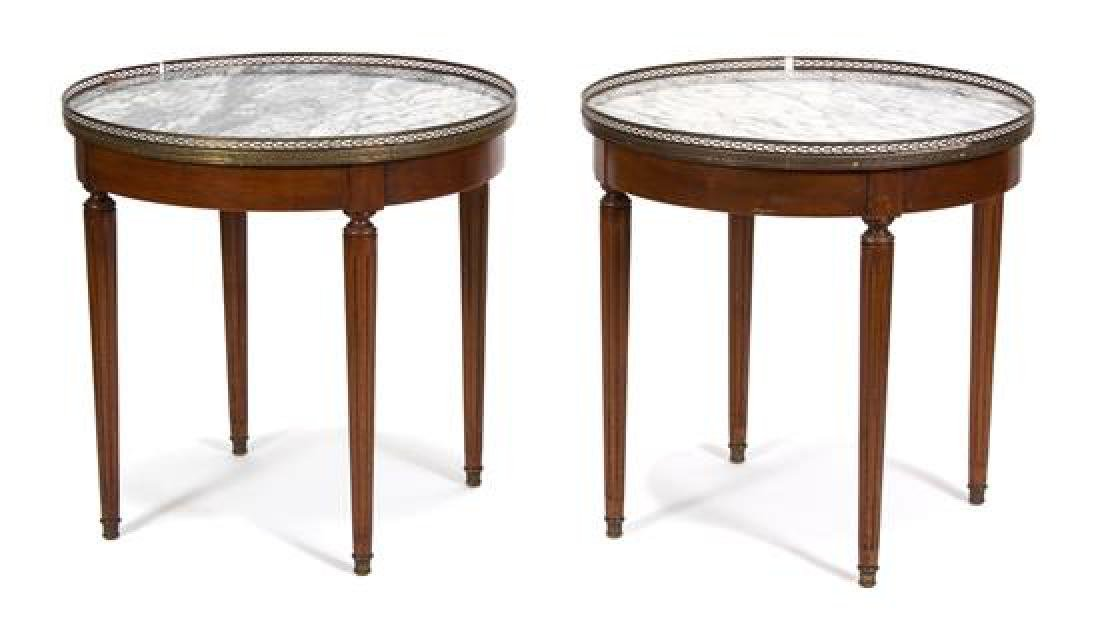 A Pair of Louis XVI Style Marble Top Gueridons Height