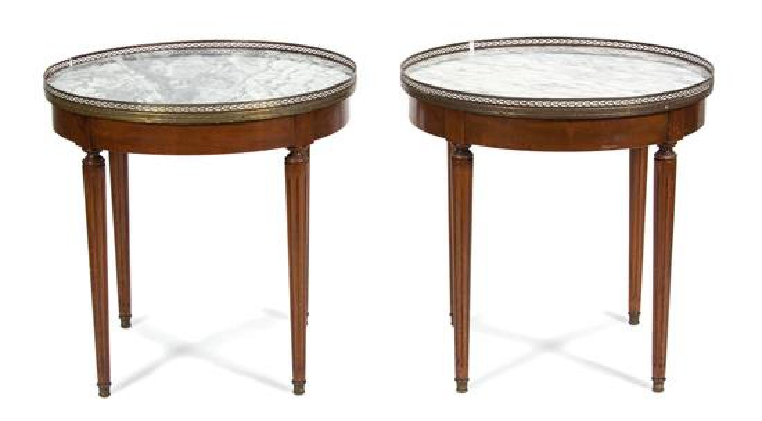 A Pair of Louis XVI Style Marble Top Gueridons Height - 2