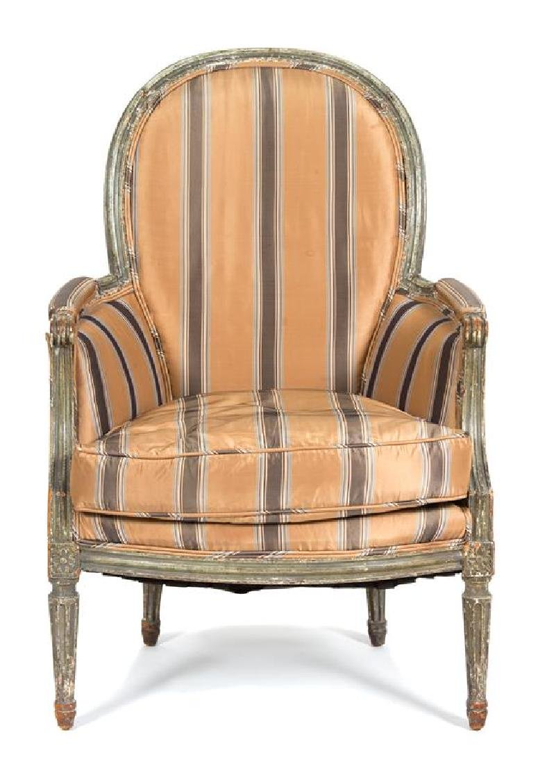 A Louis XVI Style Carved and Painted Bergere Height 38