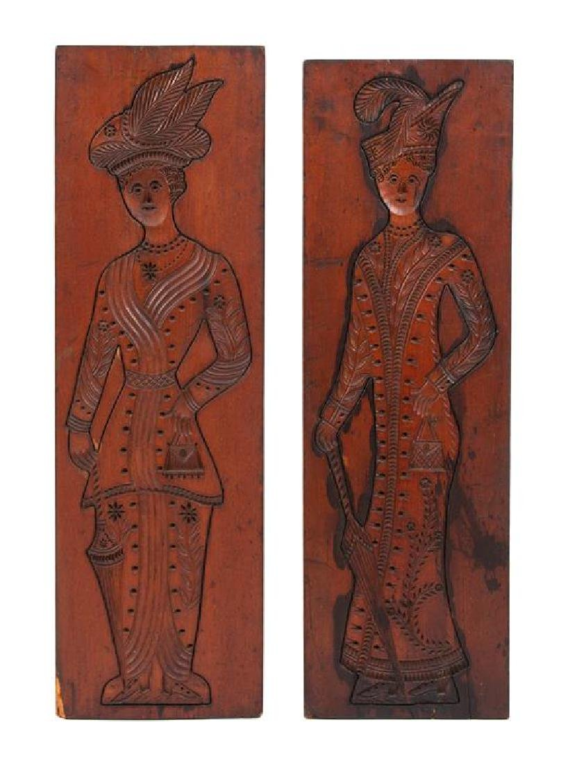 A Pair of English Carved Wood Springerle Molds Larger,