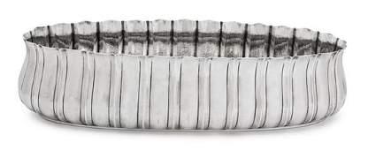 An Italian Silver Oval Fluted Centerpiece Bowl,