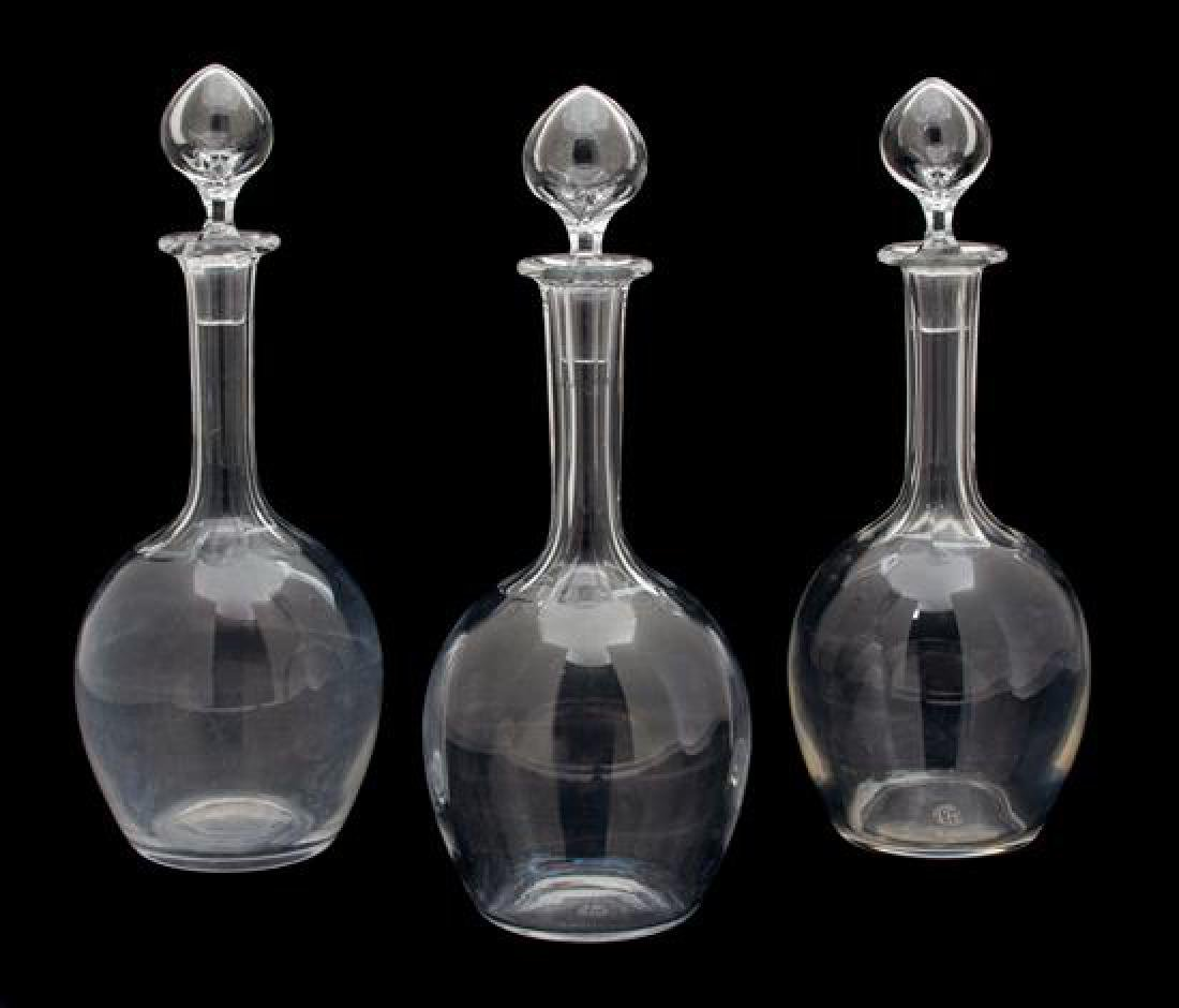 Three Baccarat Crystal Decanters Height 12 inches.