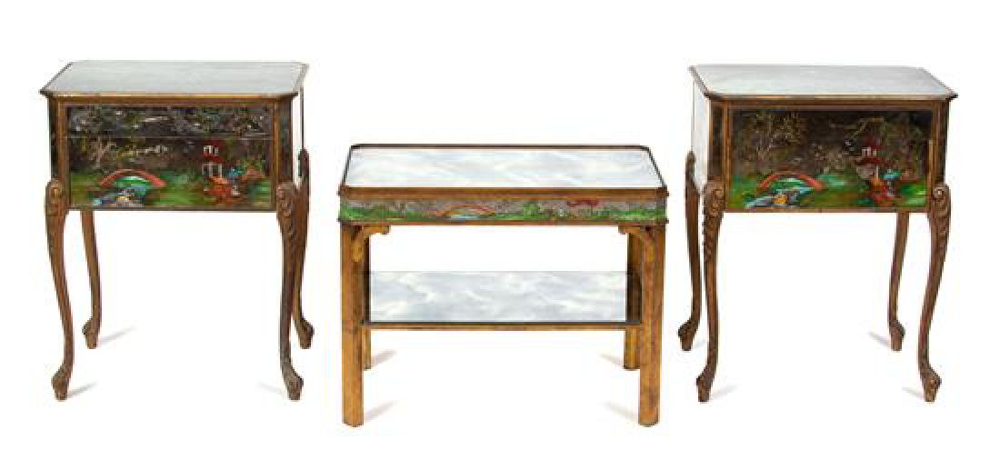 Three Pieces of Painted Mirrored Furniture Side table,