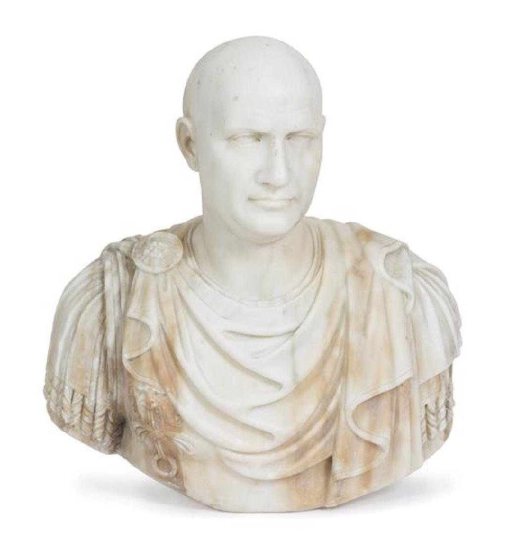 An Italian Neo-Classical Carved Marble Bust of a Roman