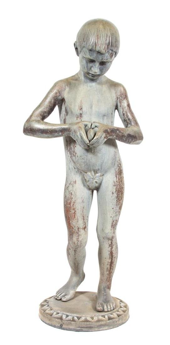 A Continental Lead Statue of a Young Boy Height 44 x