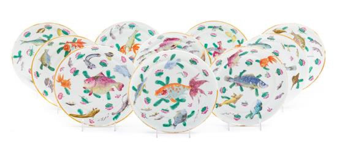 * Ten Chinese Famille Rose Porcelain Plates Diameter