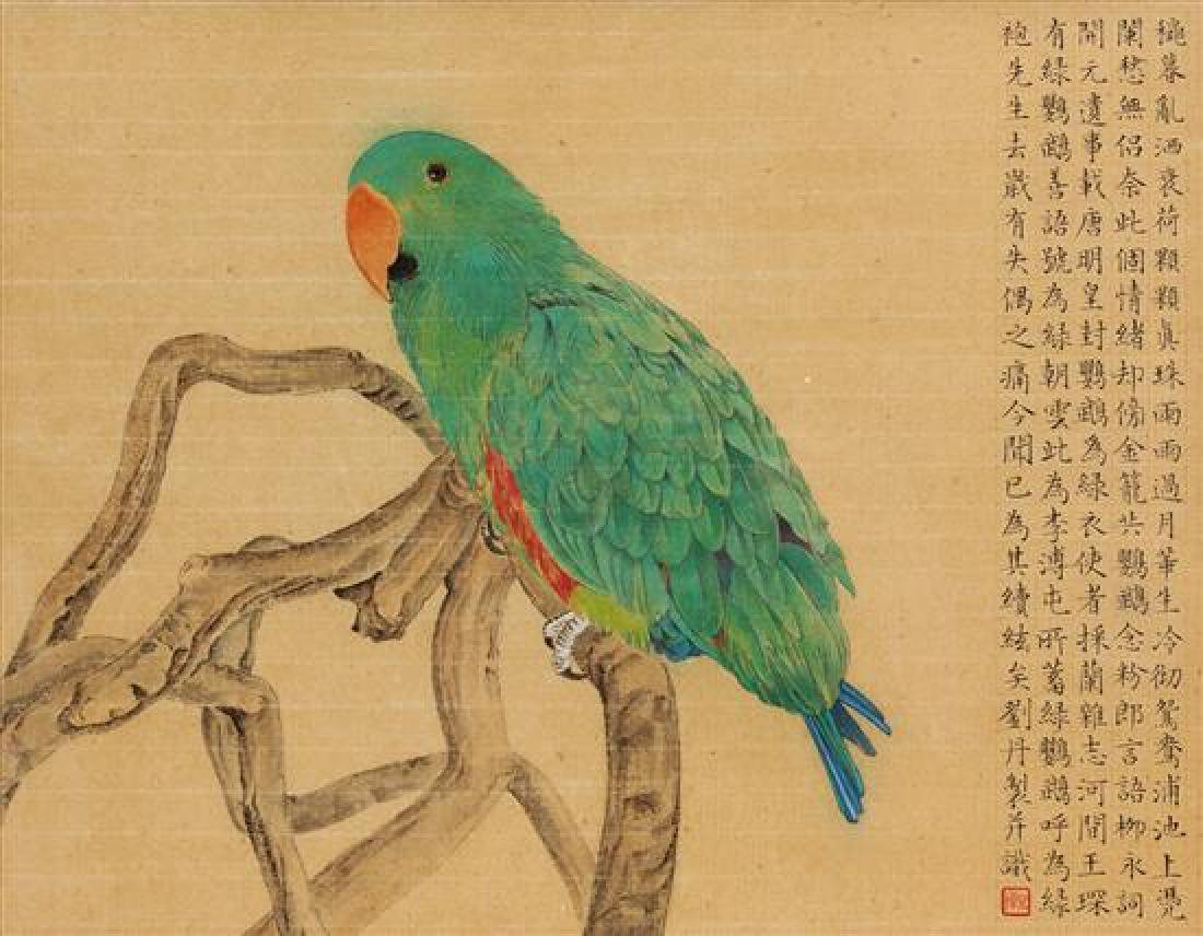 * Liu Dan, (Chinese, b. 1953), Green Parrot and Red