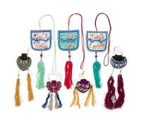 Seven Chinese Embroidered Silk Purses Length of