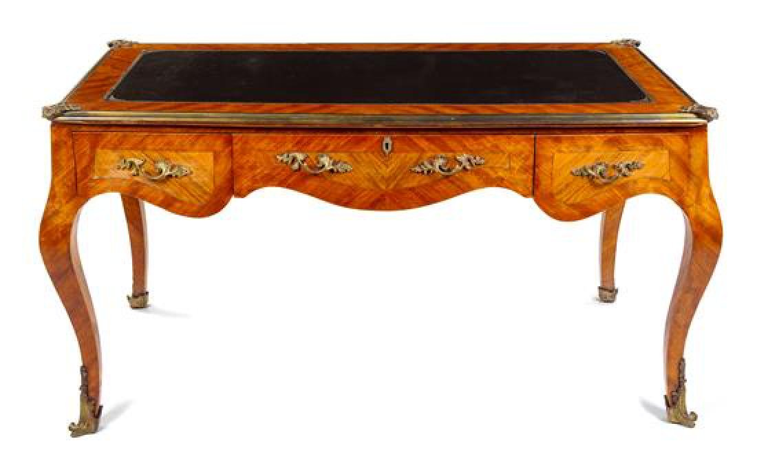 A Louis XV Style Fruitwood Bureau Plat Height 32 3/4 x