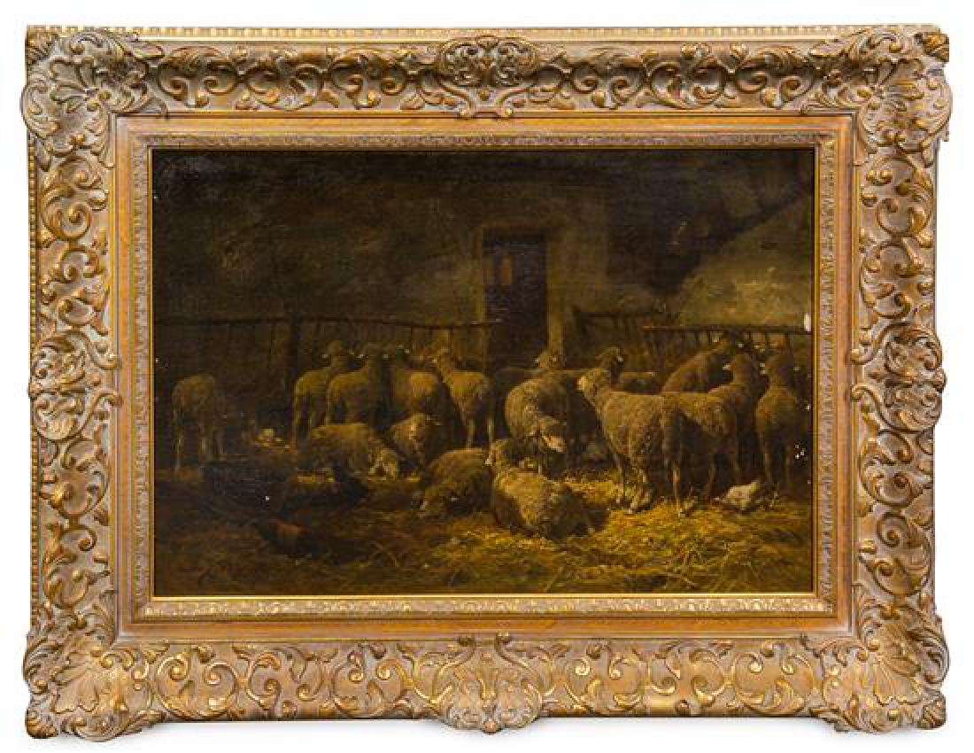 Charles-Emile Jacque, (French, 1813-1894), Sheep in a