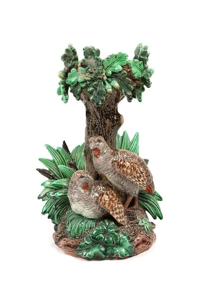 A Hugo Lonitz Majolica Figural Pedestal Height 12 5/8