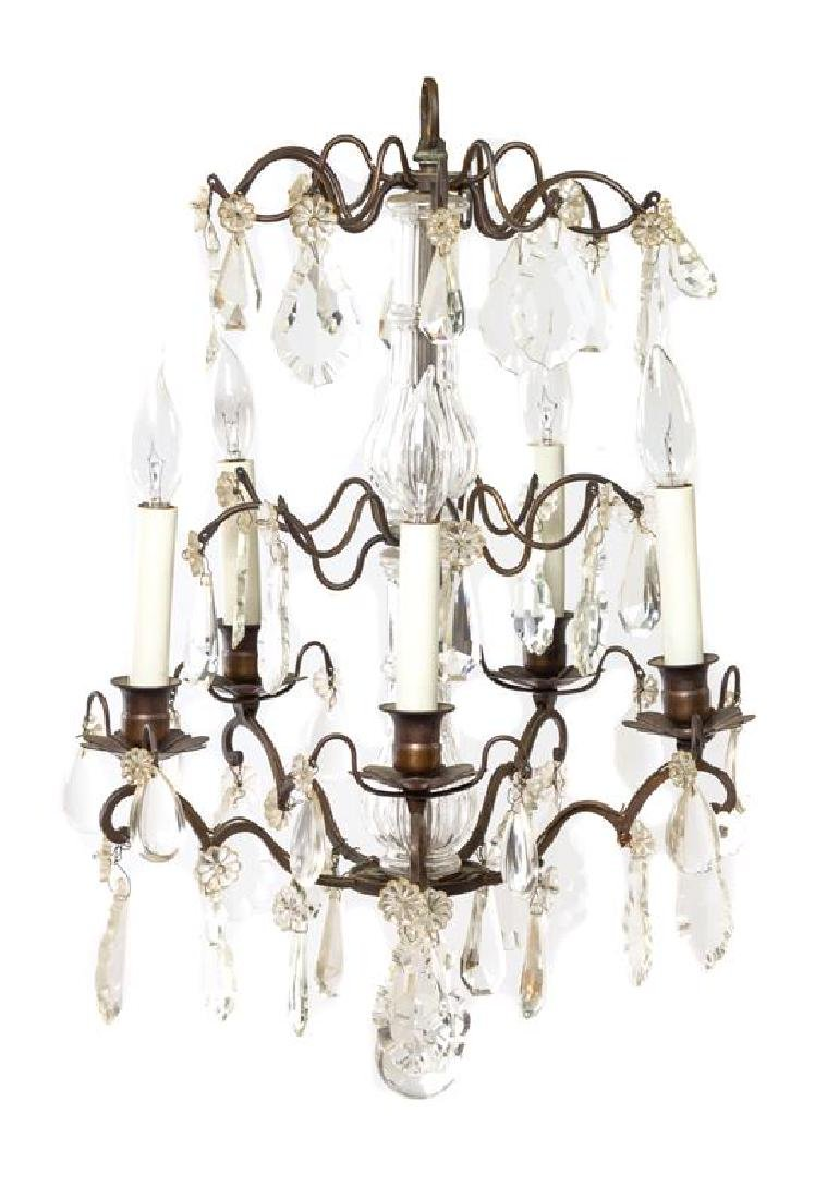 A Cased Glass Five-Light Chandelier Diameter 14 inches.